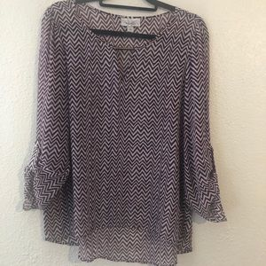 Dressbarn Sheer Purple and White Top L